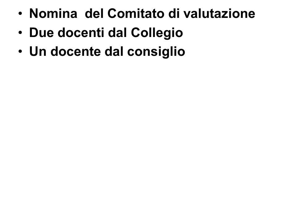 Nomina del Comitato di valutazione