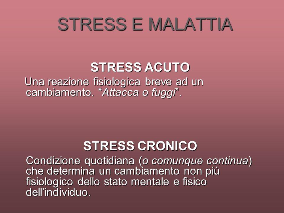 STRESS E MALATTIA STRESS ACUTO STRESS CRONICO