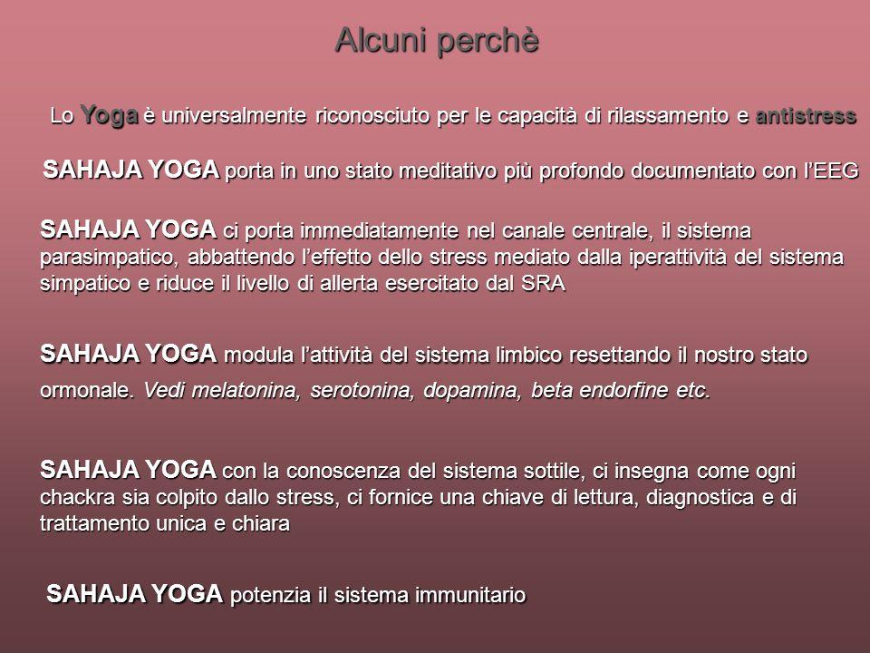 Alcuni perchèLo Yoga è universalmente riconosciuto per le capacità di rilassamento e antistress.