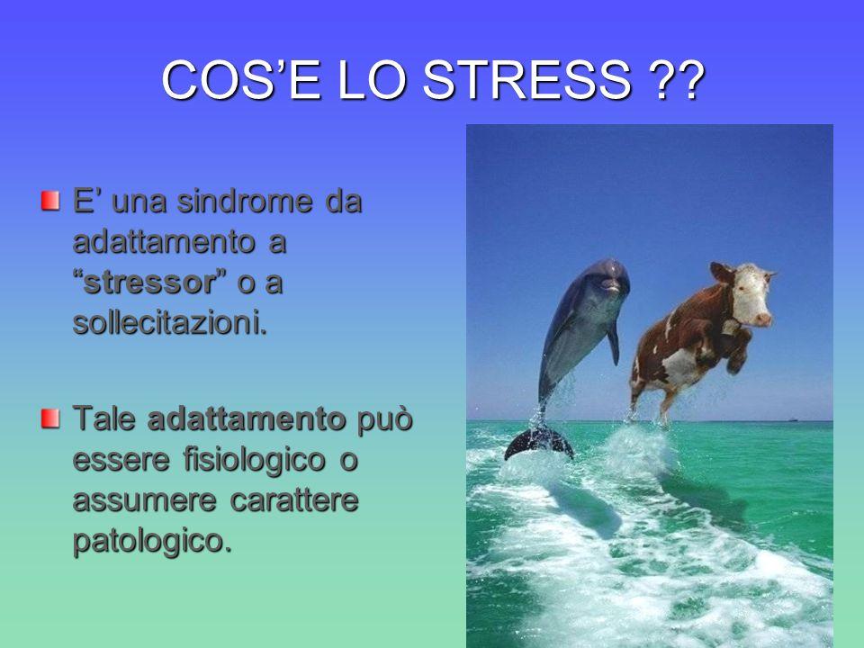 COS'E LO STRESS E' una sindrome da adattamento a stressor o a sollecitazioni.