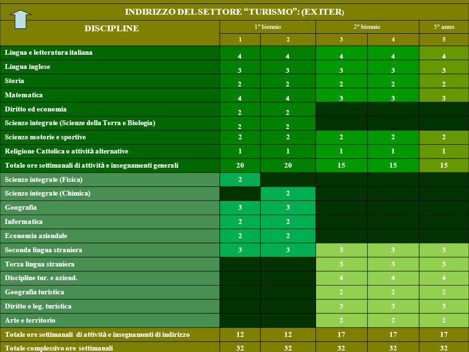 INDIRIZZO DEL SETTORE TURISMO : (EX ITER)