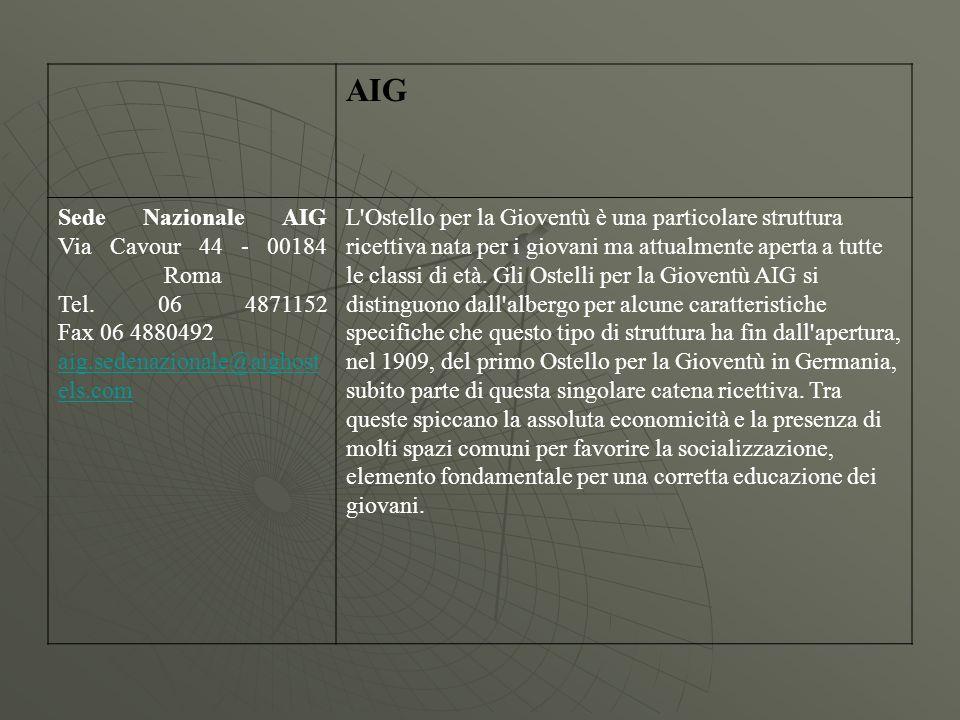 AIG Sede Nazionale AIG Via Cavour 44 - 00184 Roma Tel. 06 4871152 Fax 06 4880492. aig.sedenazionale@aighostels.com.
