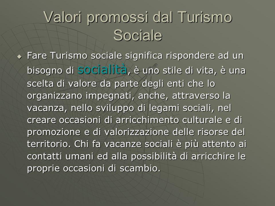Valori promossi dal Turismo Sociale