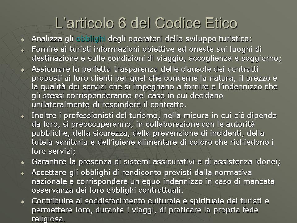 L'articolo 6 del Codice Etico