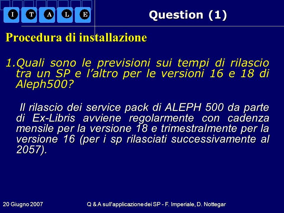 Q & A sull applicazione dei SP - F. Imperiale, D. Nottegar
