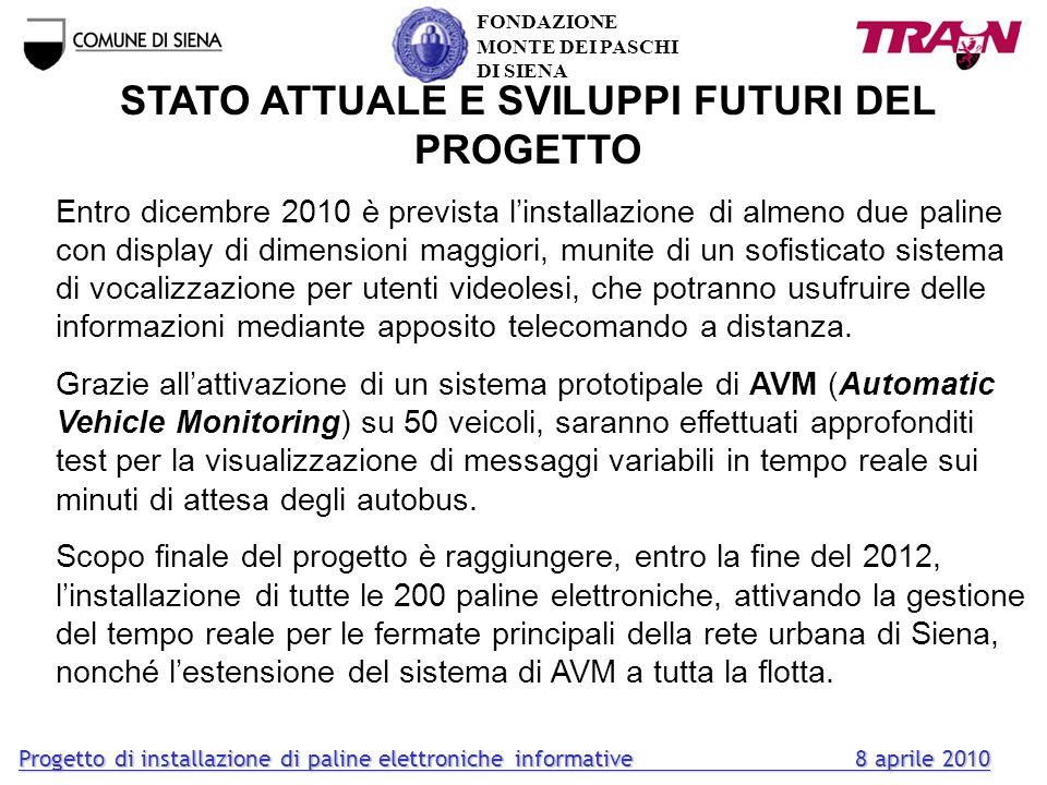 STATO ATTUALE E SVILUPPI FUTURI DEL PROGETTO