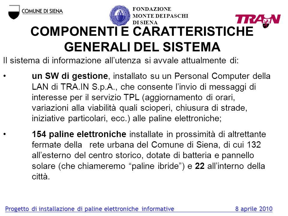 COMPONENTI E CARATTERISTICHE GENERALI DEL SISTEMA
