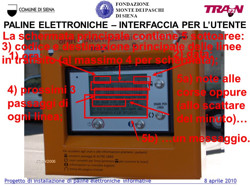 PALINE ELETTRONICHE – INTERFACCIA PER L'UTENTE