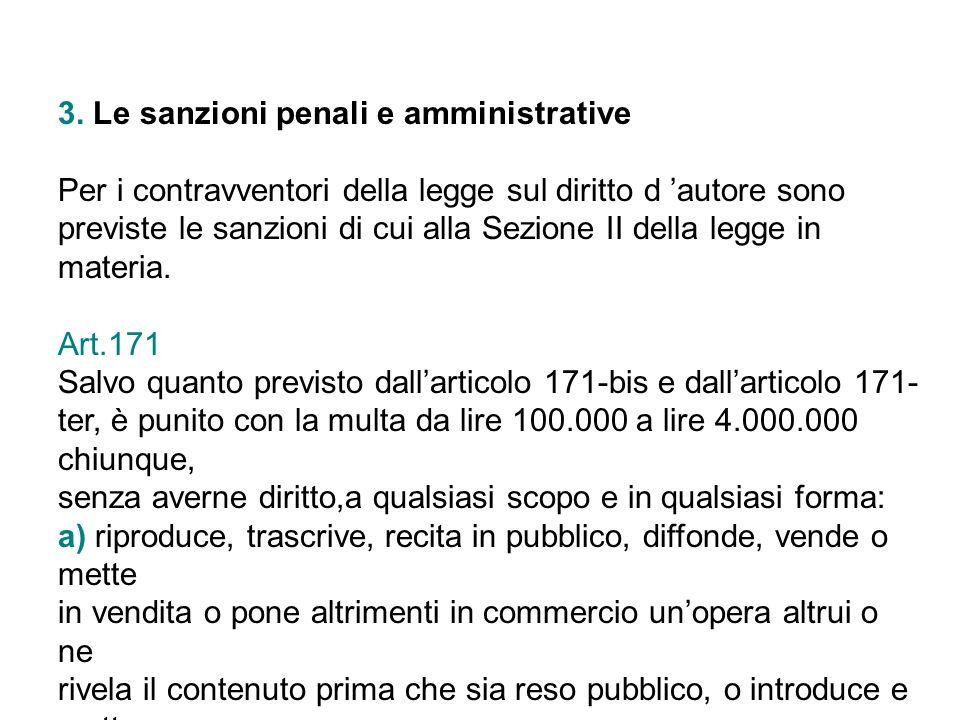 3. Le sanzioni penali e amministrative