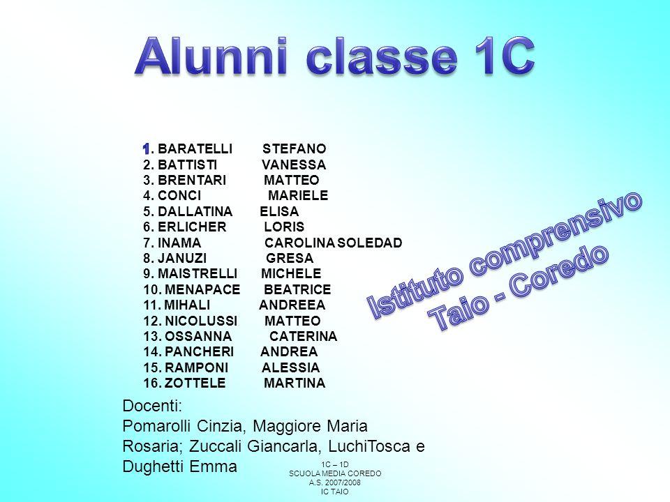 Alunni classe 1C Istituto comprensivo Taio - Coredo Docenti:
