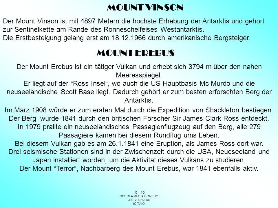 MOUNT VINSON MOUNT EREBUS