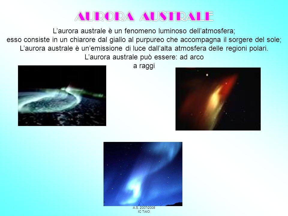 AURORA AUSTRALE L'aurora australe è un fenomeno luminoso dell'atmosfera;