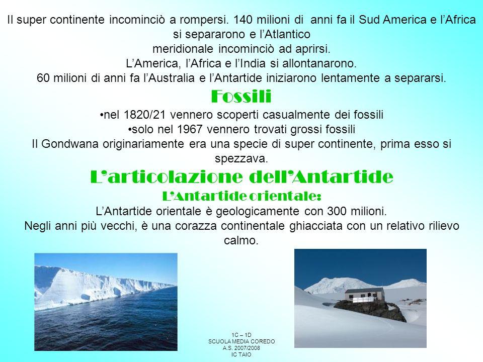 L'articolazione dell'Antartide