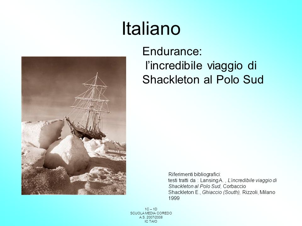Italiano Endurance: l'incredibile viaggio di Shackleton al Polo Sud