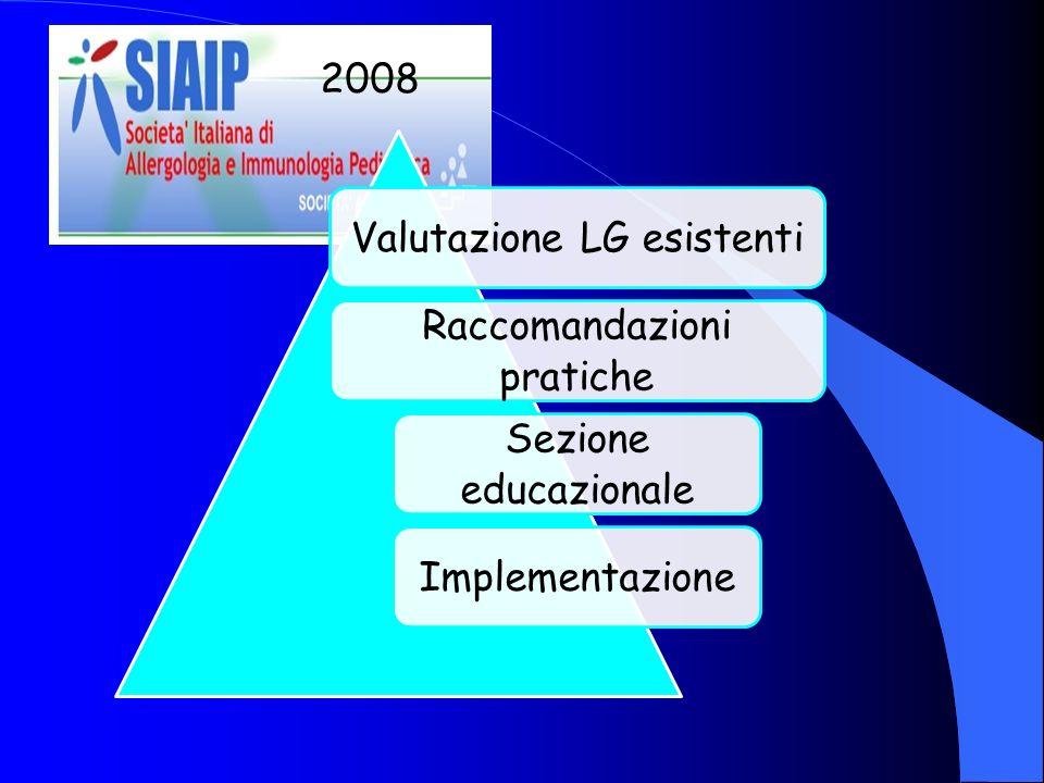 Valutazione LG esistenti Raccomandazioni pratiche Sezione educazionale