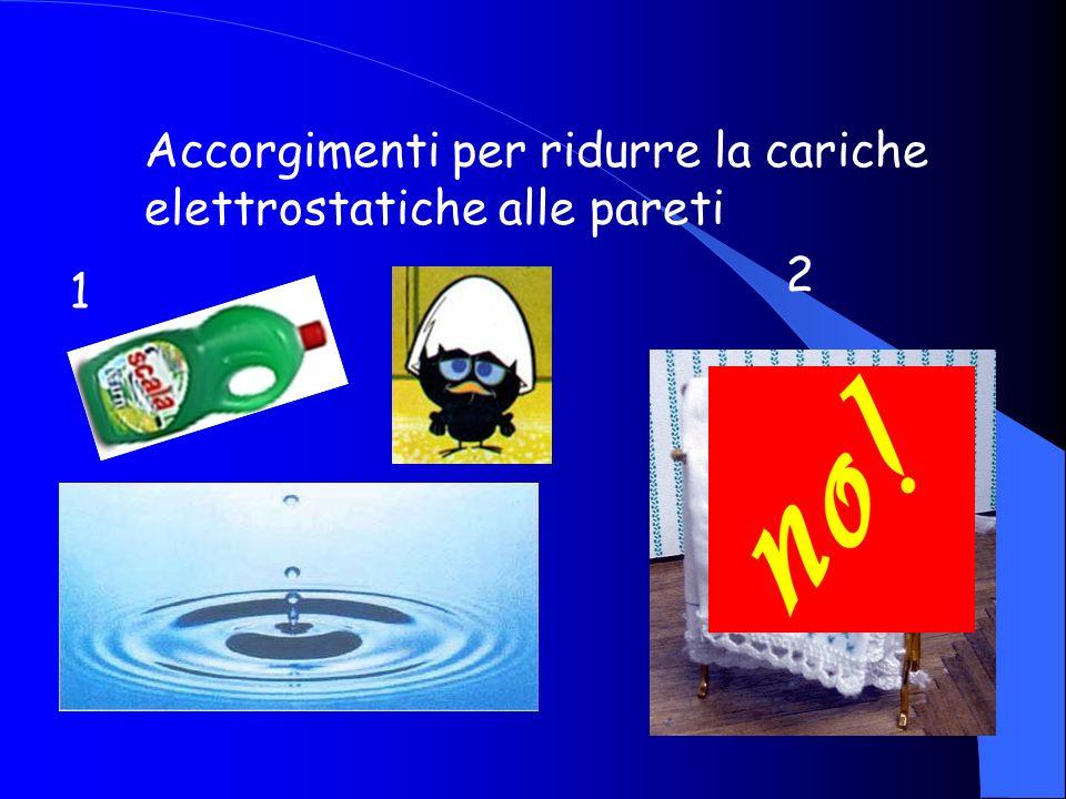 Accorgimenti per ridurre la cariche elettrostatiche alle pareti