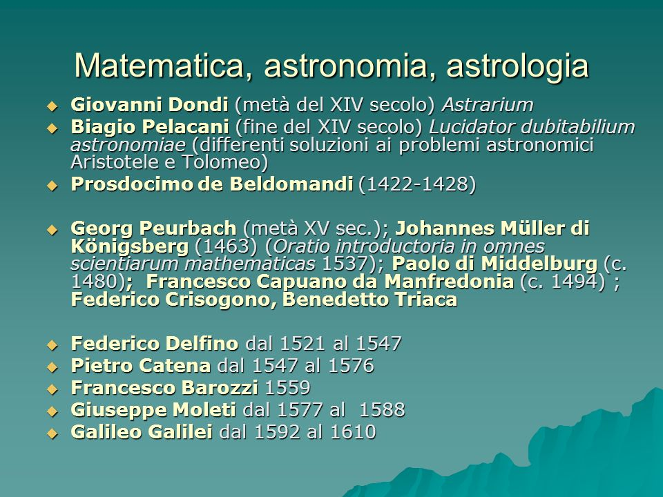 Matematica, astronomia, astrologia