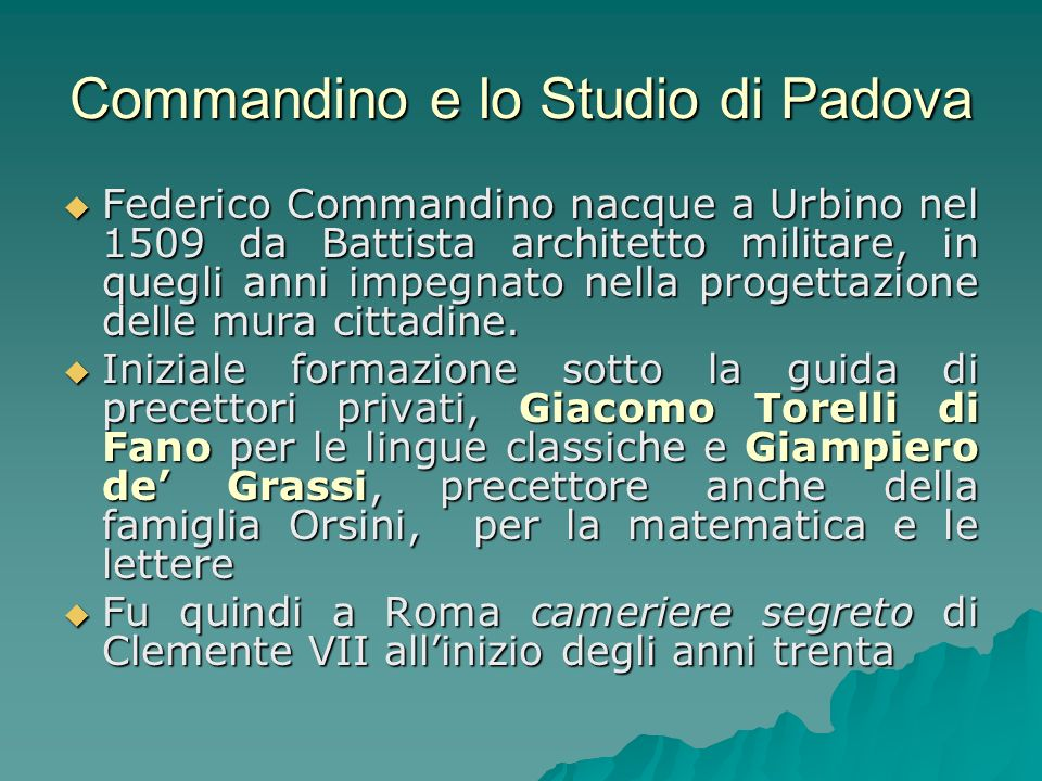 Commandino e lo Studio di Padova
