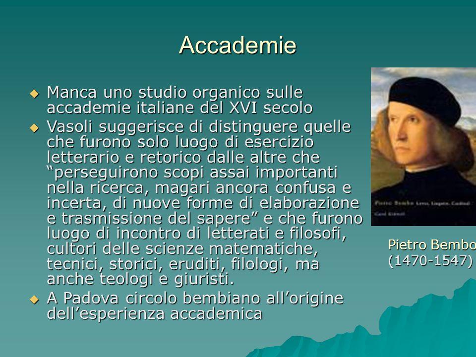 AccademieManca uno studio organico sulle accademie italiane del XVI secolo.