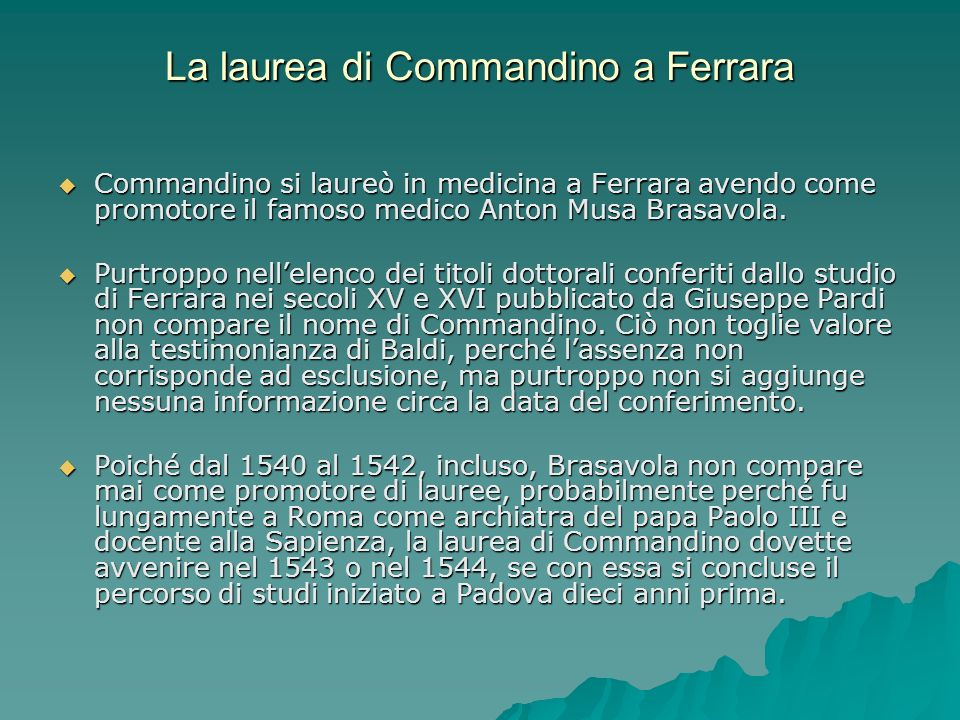 La laurea di Commandino a Ferrara