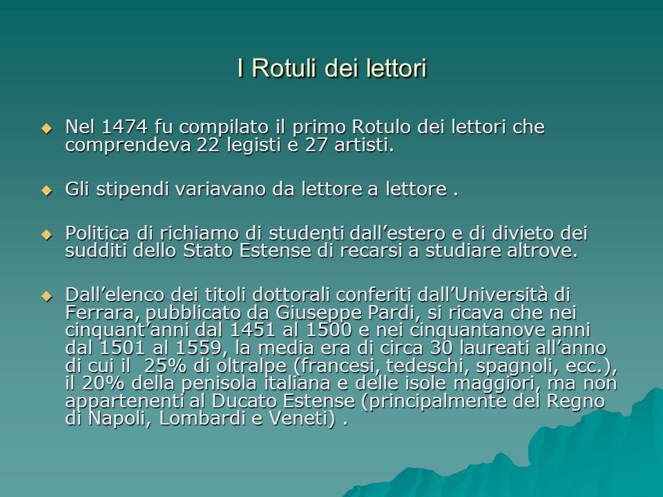I Rotuli dei lettoriNel 1474 fu compilato il primo Rotulo dei lettori che comprendeva 22 legisti e 27 artisti.