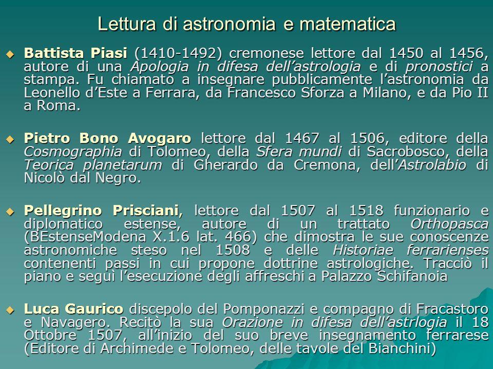 Lettura di astronomia e matematica