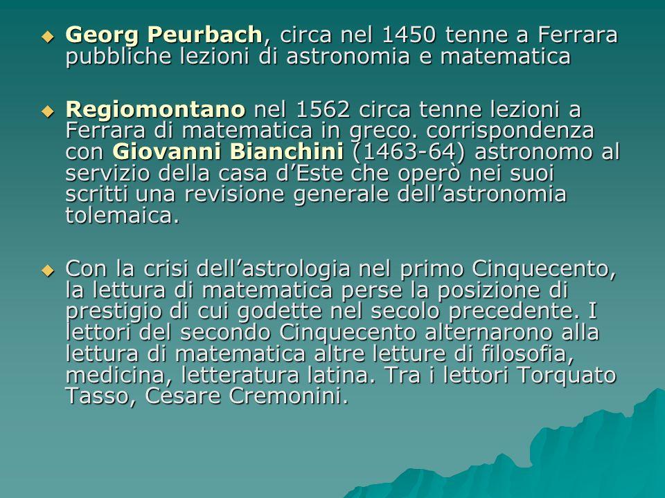 Georg Peurbach, circa nel 1450 tenne a Ferrara pubbliche lezioni di astronomia e matematica