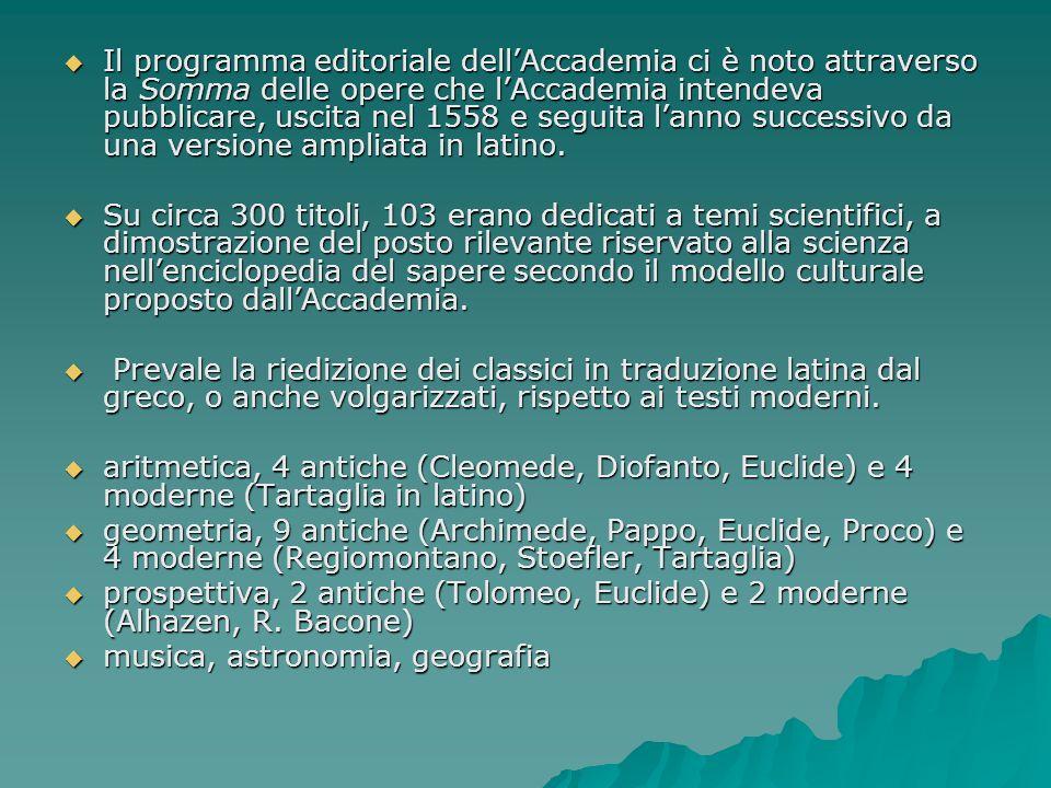 Il programma editoriale dell'Accademia ci è noto attraverso la Somma delle opere che l'Accademia intendeva pubblicare, uscita nel 1558 e seguita l'anno successivo da una versione ampliata in latino.