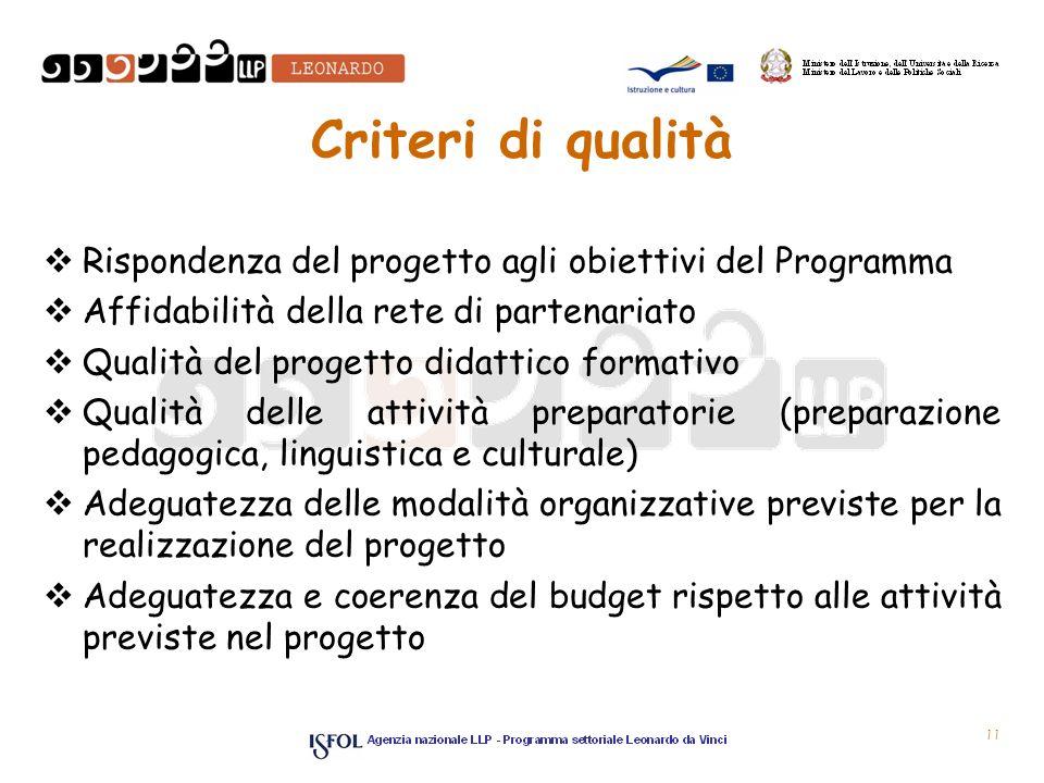Criteri di qualità Rispondenza del progetto agli obiettivi del Programma. Affidabilità della rete di partenariato.