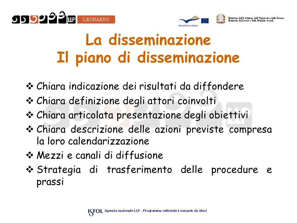 La disseminazione Il piano di disseminazione