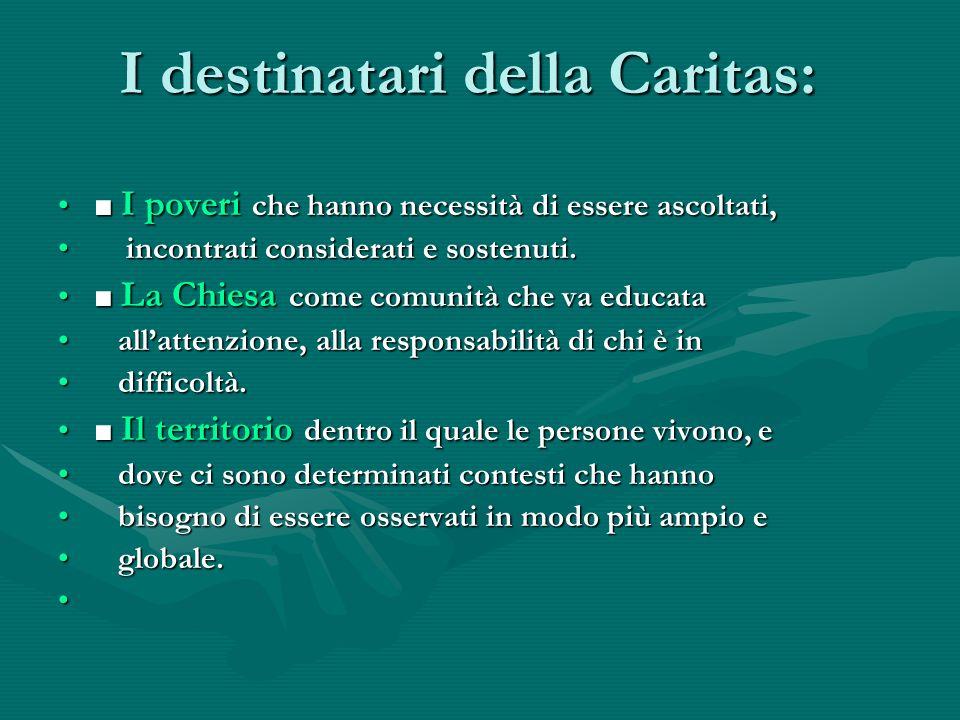 I destinatari della Caritas: