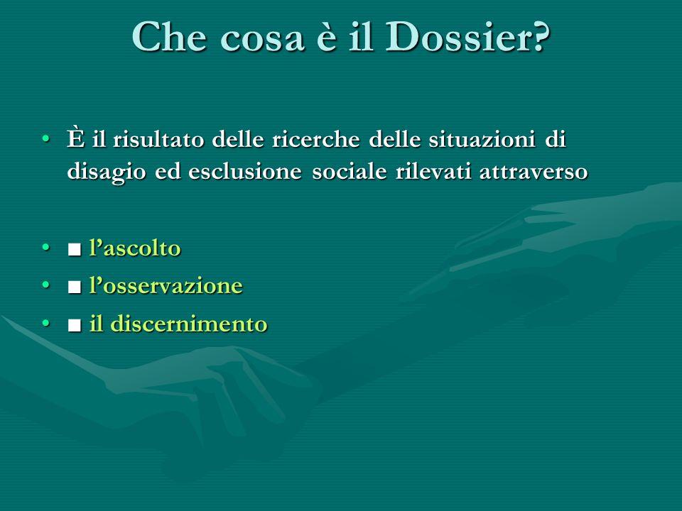 Che cosa è il Dossier È il risultato delle ricerche delle situazioni di disagio ed esclusione sociale rilevati attraverso.
