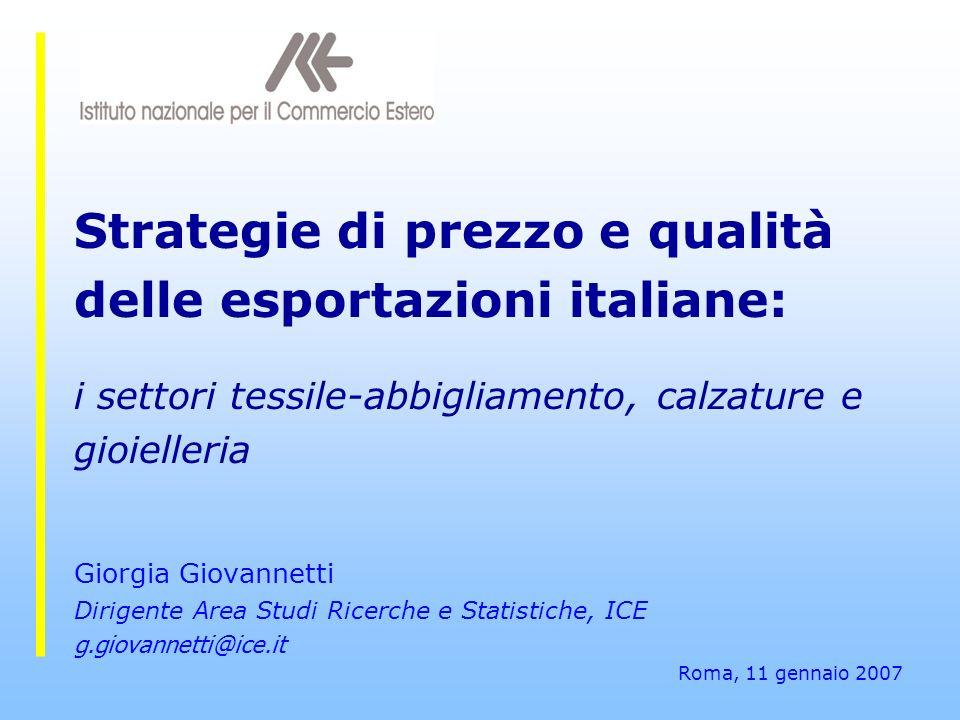 Strategie di prezzo e qualità delle esportazioni italiane: i settori tessile-abbigliamento, calzature e gioielleria