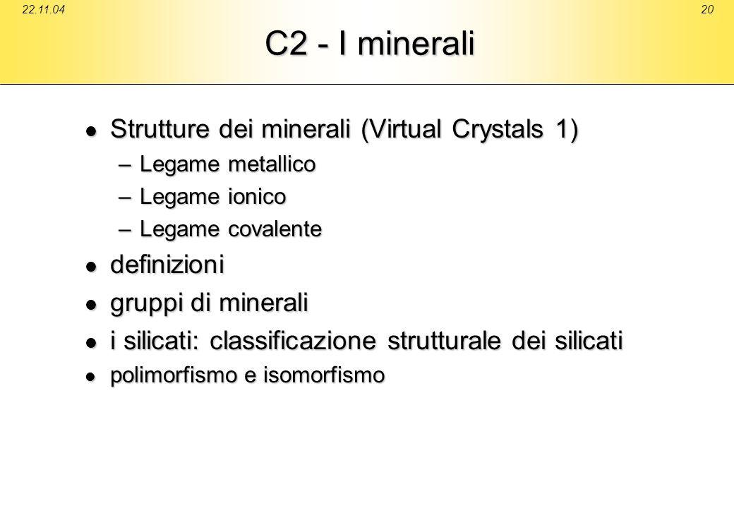 C2 - I minerali Strutture dei minerali (Virtual Crystals 1)