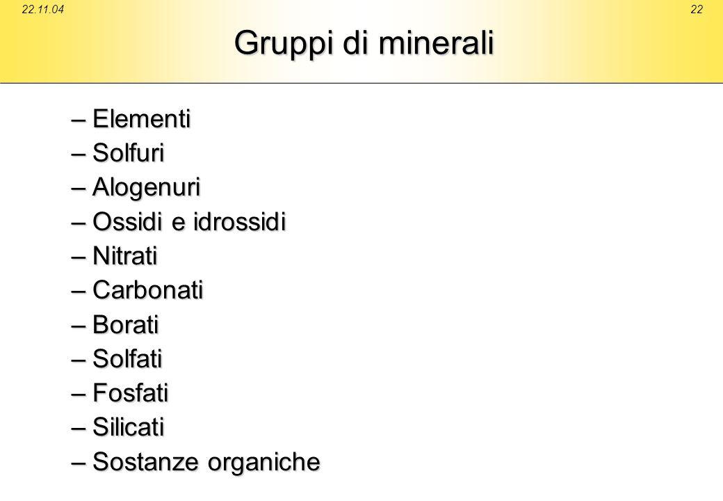 Gruppi di minerali Elementi Solfuri Alogenuri Ossidi e idrossidi