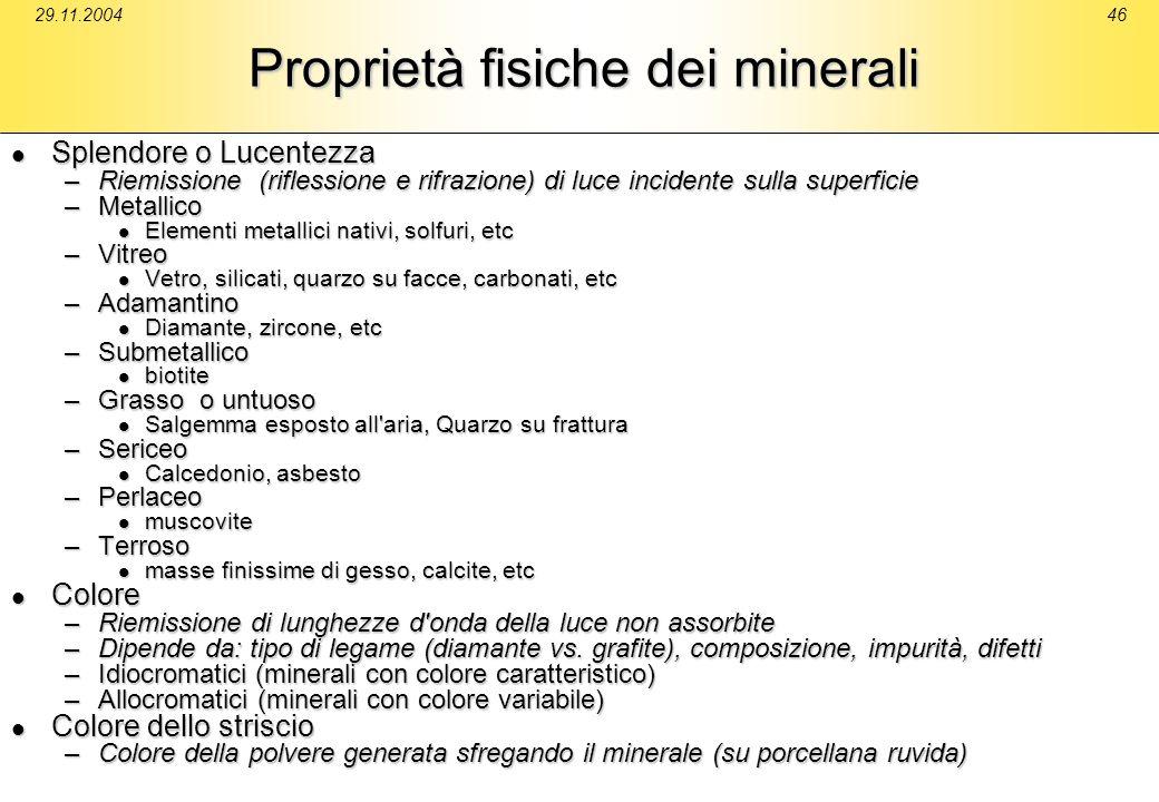 Proprietà fisiche dei minerali