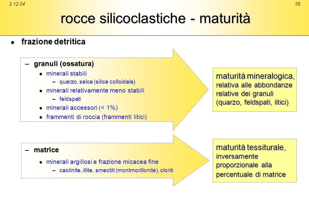 rocce silicoclastiche - maturità