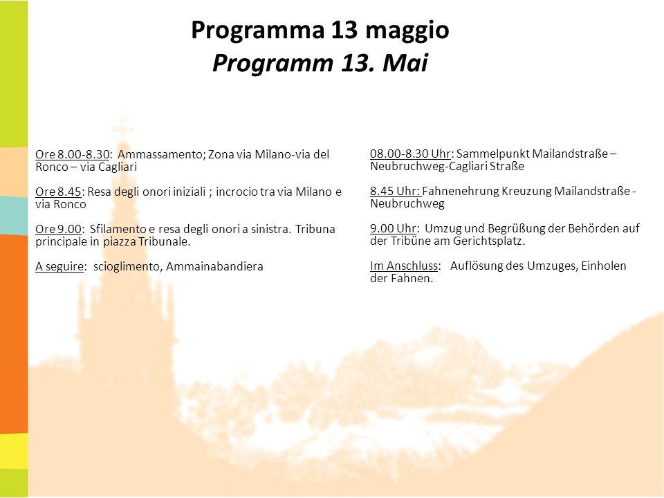 Programma 13 maggio Programm 13. Mai