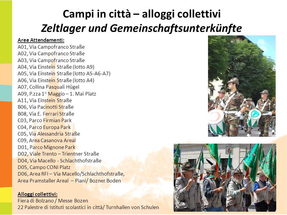 Campi in città – alloggi collettivi Zeltlager und Gemeinschaftsunterkünfte