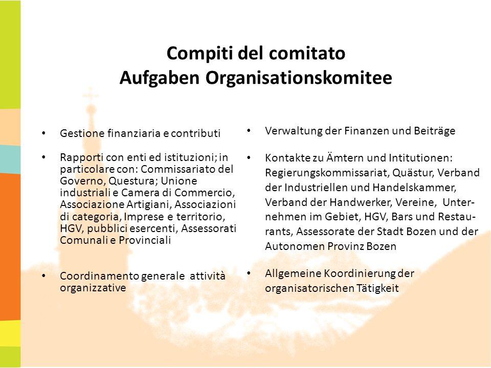 Compiti del comitato Aufgaben Organisationskomitee