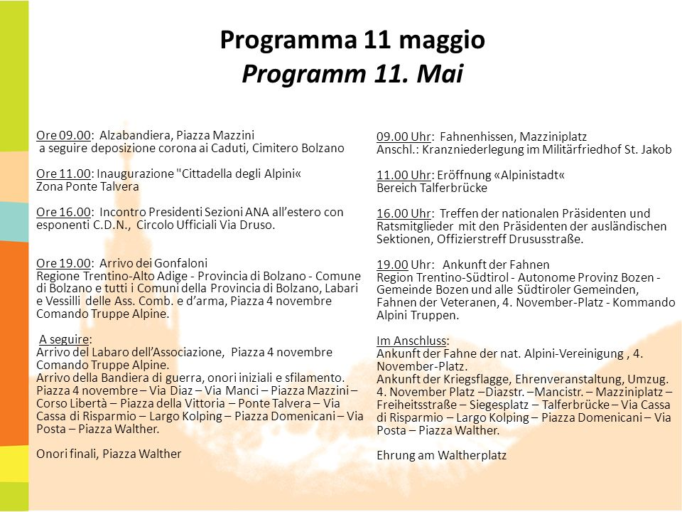 Programma 11 maggio Programm 11. Mai