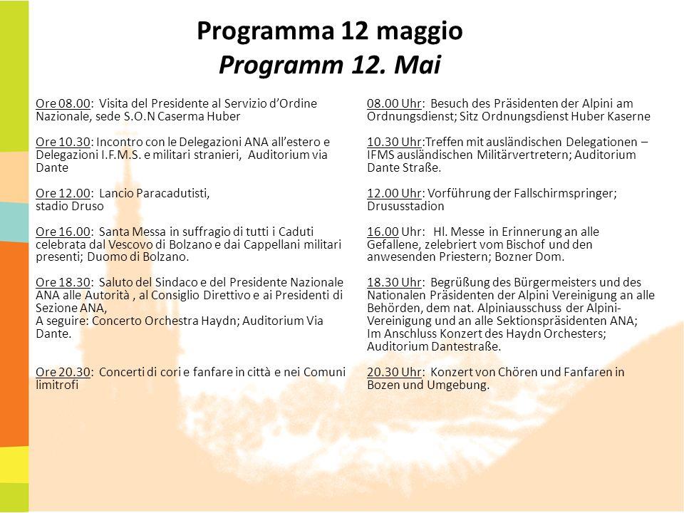 Programma 12 maggio Programm 12. Mai