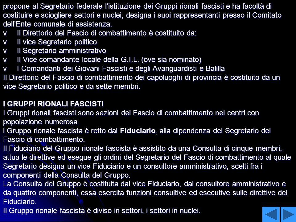 propone al Segretario federale l'istituzione dei Gruppi rionali fascisti e ha facoltà di costituire e sciogliere settori e nuclei, designa i suoi rappresentanti presso il Comitato dell'Ente comunale di assistenza.