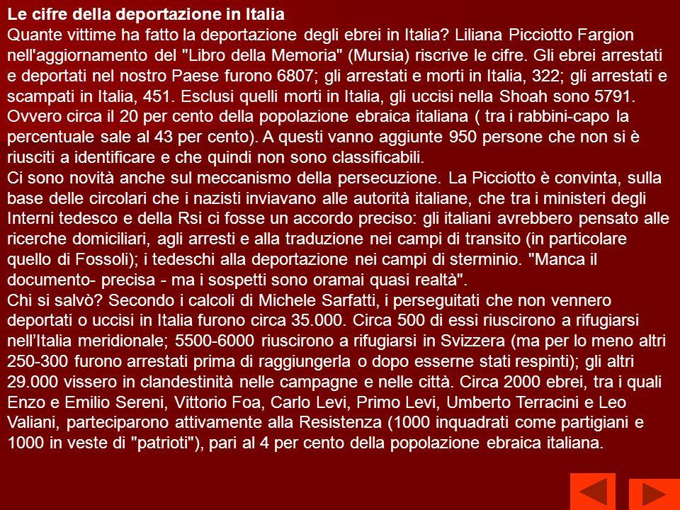 Le cifre della deportazione in Italia