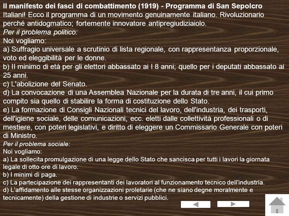 Il manifesto dei fasci di combattimento (1919) - Programma di San Sepolcro