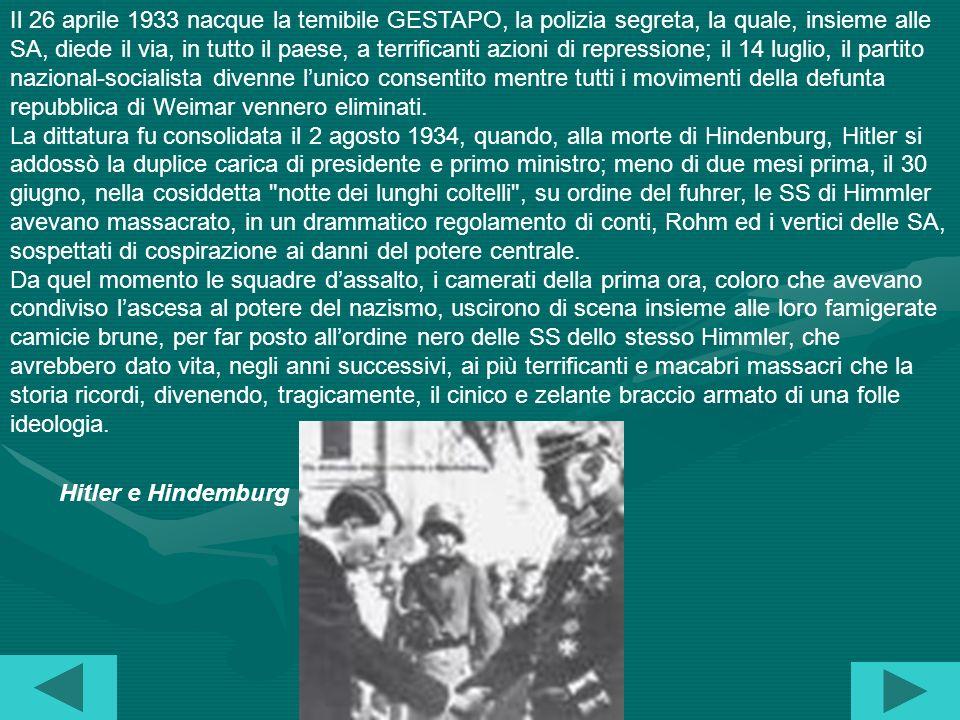Il 26 aprile 1933 nacque la temibile GESTAPO, la polizia segreta, la quale, insieme alle SA, diede il via, in tutto il paese, a terrificanti azioni di repressione; il 14 luglio, il partito nazional-socialista divenne l'unico consentito mentre tutti i movimenti della defunta repubblica di Weimar vennero eliminati.