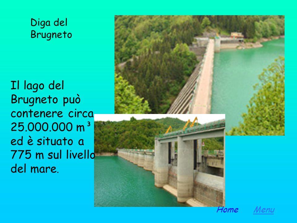 Diga del Brugneto Il lago del Brugneto può contenere circa 25.000.000 m³ ed è situato a 775 m sul livello del mare.