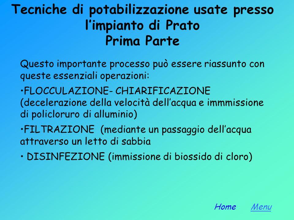 Tecniche di potabilizzazione usate presso l'impianto di Prato