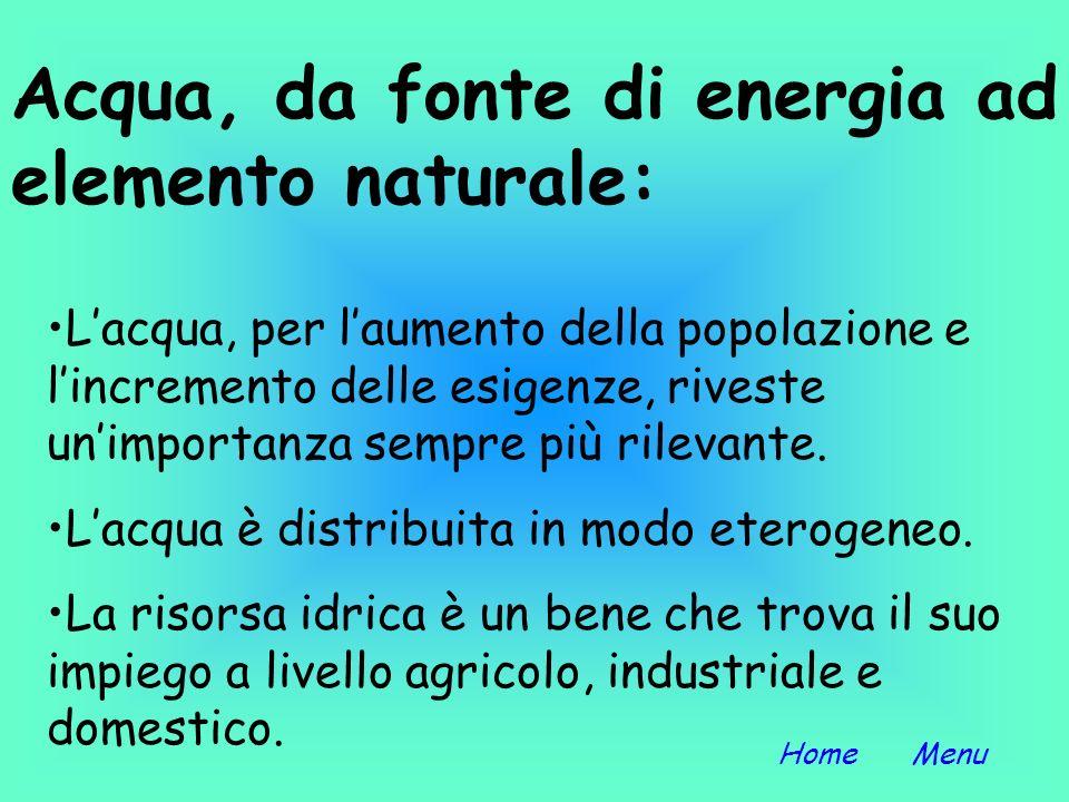 Acqua, da fonte di energia ad elemento naturale: