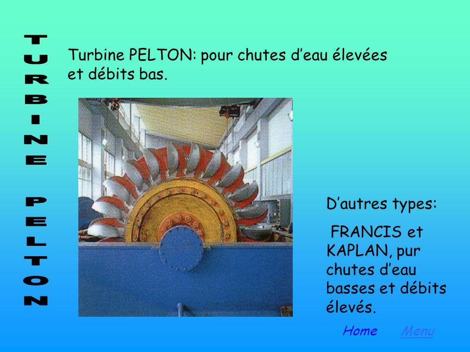Turbine PELTON: pour chutes d'eau élevées et débits bas.